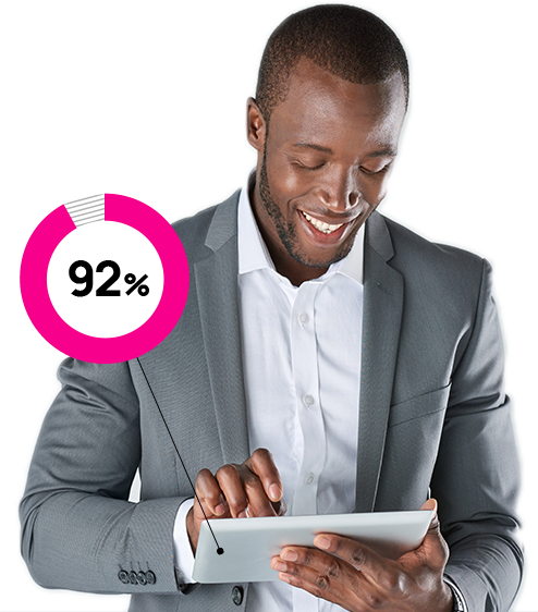 man looking at a tablet with sixty-four percent graphic