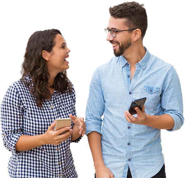 two people looking at mobile phones