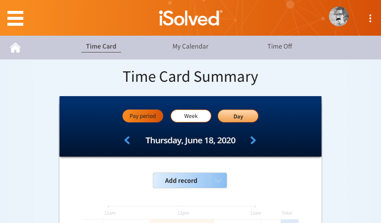 Time Card Entry Screenshot